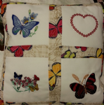 PERSONALISED EMBROIDERED CUSHION WITH BUTTERFLY THEME